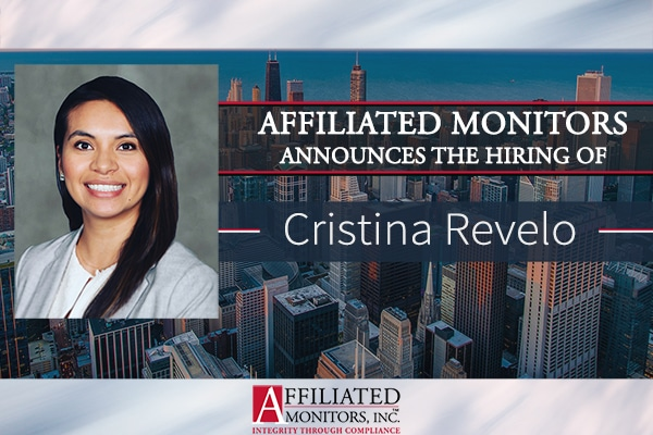 A professional headshot of AMI's Cristina Revelo along with her hiring announcement, with stock photography of the Chicago skyline in the background