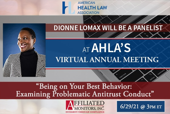 Marketing banner for dionne lomax panel at AHLA annual meeting in June, 2021