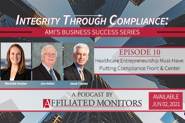 promotional banner for podcast episode 10 with headshots of miranda hooker, jim anliot, and jesse caplan — healthcare entrepreneurship must have: compliance